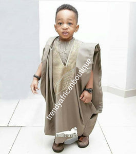 Choose your Color: Young  boys Agbada set Ages 2 to 8yrs made-to-order Nigerian Traditional embriodered quality senator material. Custom-made design. Can be produce in any color of your choice. 4pcs set agbada, inner top and bottom + cap. set.
