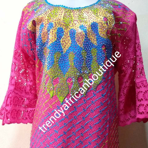 "sale: 3pc set. Pink/blue swiss lace-kaftan+ pink inner + headtie. beautiful chest Senegalese bubu Embriodery + Swarovski stones embellishment to perfection! Fit Burst 48"", gown  lenght 60"" shoulder to floor, sleeve lenght 17"" classic and  must have!"