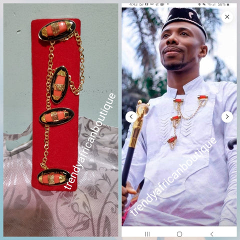 Nigerian men pin botton for men,  groom-accessories for isi-agu or men shirt outfit. Quality Coral in gold plated chain. Can be use with Atiku men  top.