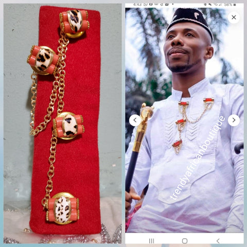 Nigerian men pin botton for men,  groom-accessories for isi-agu shirt outfit. Quality Coral in gold plated chain. Can be use with Atiku men  top.