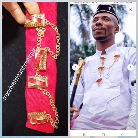 Nigerian men red pin botton for men,  groom-accessories for isi-agu/shirt outfit. Quality red stone with gold plated chain. Can be use with Atiku men  top or any African traditional wear.