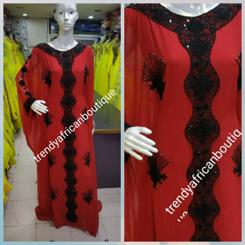 Dubai kaftan free flowing dress. 2 piece set Red/black beaded and stoned. Available in L and XXL. Beaded and stones chiffon kaftan for evening dress