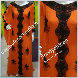 Dubai kaftan free flowing dress. 2 piece set Orange/black beaded and stoned. Available in M, L and XXL. Beaded and stones chiffon kaftan for evening dress
