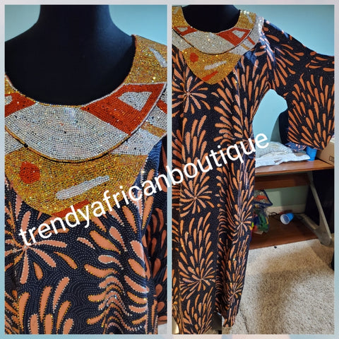 "Swarovski stoned Ankara-kaftan, long free flowing  dress embellished with shinning Swarovski stones to perfection! Fit Burst 48"" and Full lenght 60"". Made with Quality Ankara/stoned work."