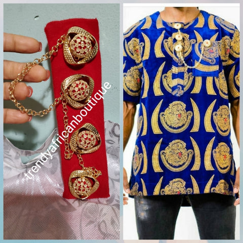 Nigerian men gold plated with red crystal stones pin botton for men,  groom-accessories for isi-agu shirt outfit. Quality Coral in gold plated chain. Can be use with Atiku men  top.