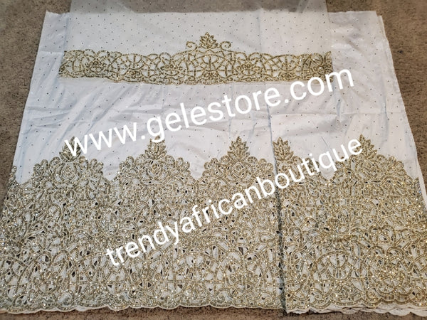 Ready to ship. Pure white Original Quality VIP all over shining Crystal stoned George wrapper. Igbo/delta/Niger Bridal George wrappee in 2.5yds + 2.5yds  + 1.8 yds matching net blouse. Feel the difference in quality Taffeta crystal stoned wrapper