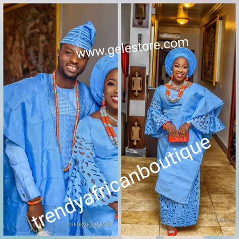 Choose your color! Bride laser cut Aso-oke set + groom embriodered Agbada  set. Custom-made. Make-to-order only. Quality Nigerian aso-oke-Can be order as a set for bride & Groom or for individual. 6-8 weeks for production. Traditional wedding outfit