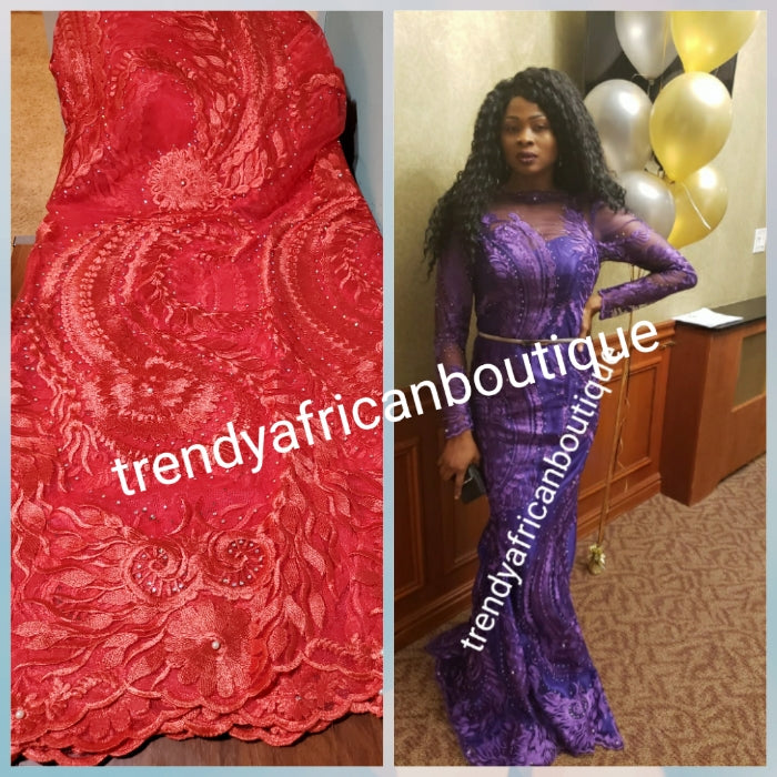 Clearance Coral African french lace fabric in sizzling sweet color. All over stones. Sold 5yds. Model shown rocking same Lace in purple sizzling evening gown