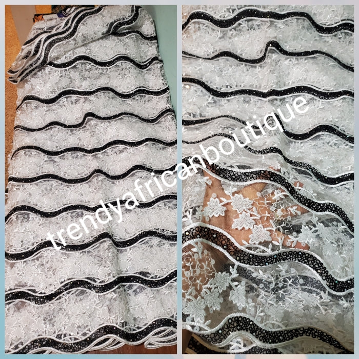Clearance Organza white/black African French Lace Fabric. Unique Fully beaded amd stoned/ richly design for that special Ocassion. Embellished with sequence and stones for Nigerian big party