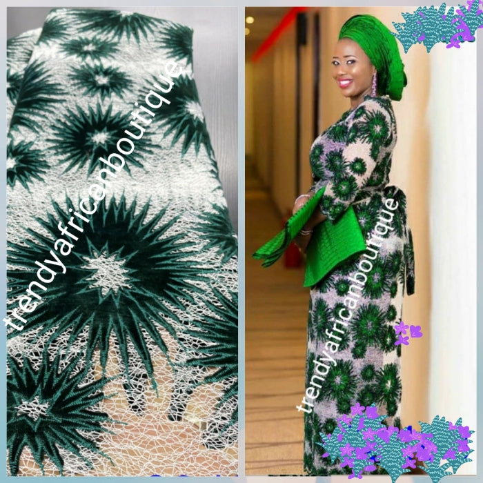 Ready to ship: White/green french lace fabric.soft texture + velvet. latest design. Sold per 5yds. Nigerian/African french lace for making party outfit, soft Luxurious fabric. Sold per 5 yards lenght.. aso-ebi order welcome
