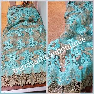 Sale: Sweet mint green/champagne embroided french lace fabric.  Sold per 5yds. Price is for 5yds. Beautiful swiss quality design for making Aso-ebi dresses