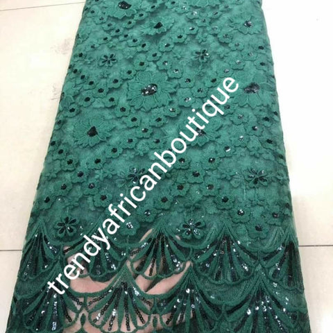 New arrival soft quality emerald green french lace fabric with all over sequence. Great quality. Sold per 5yds.price is for 5yds. Aso-ebi price available. Contact us for details