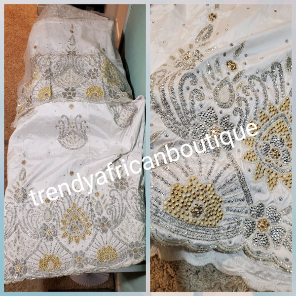 Bonus Sale: Pure White/White Quality taffeta silk hand beaded and stoned George wrapper. Nigerian Bride beautiful in White George wrapper. Sold as a set of 2 wrapper + 1.8yds  Net for blouse. Niger/delta/Igbo traditional bridal outfit