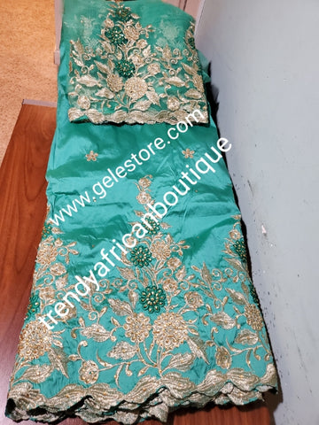 Mint green/gold  embriodery stone taffeta silk George fabric. Top quality Indian-George for making Nigerian/African party dress. 5yds George + 1.8yds matching net blouse. Contact us if you are interested in Aso-ebi order