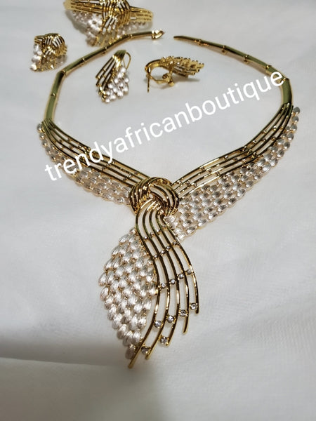 18k Gold + silver, 2 tone electroplated 4pcs necklace set. Top quality  African costume choker necklace set. Long lasting plating, hypoallergenic plating