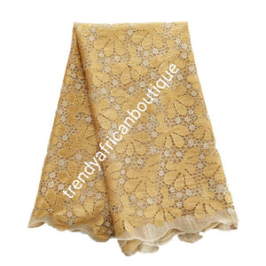 Special price: Ready to ship, Gorgeous gold/beige super quality French lace fabric. Soft luxurious cut beaded and stoned to perfection. Need aso-ebi, contact us directly