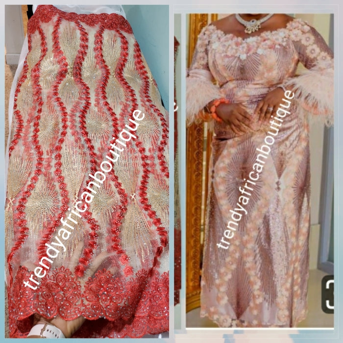 New arrival Coral/Champagne gold African French lace fabric embellished with dazzling crystal stoned Net french lace. Sold per 5yds length.  Aso-ebi order  available per request in your color is choice.
