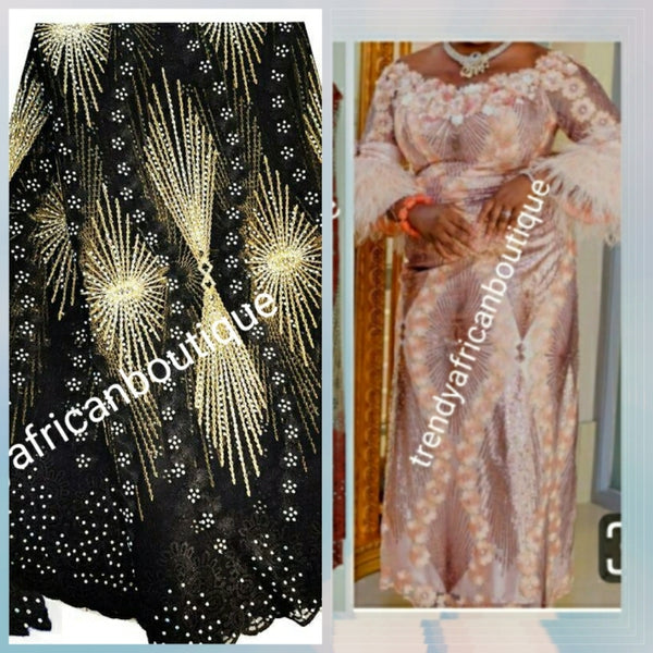 New arrival Black/Champagne gold African French lace fabric embellished with dazzling crystal stoned Net french lace. Sold per 5yds length.  Aso-ebi order  available per request in your color is choice.