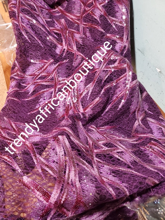 Sale: soft purple African net  French lace fabric embellished with sequence and beads. Sold per 5yds length.  Aso-ebi order and discount available
