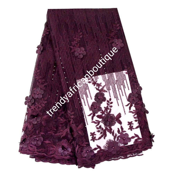 Sale: Sweet Plum  french lace fabric with stones and flower petals. Sold per 5yds. Nigerian/African french lace for making party outfit, soft Luxurious fabric
