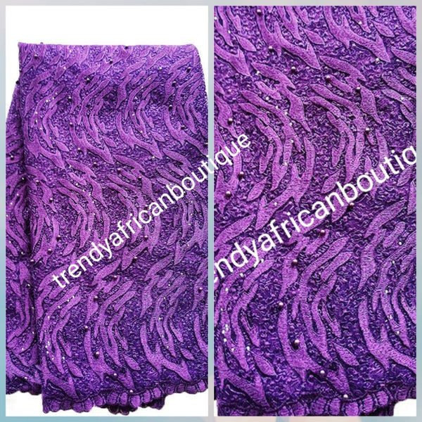 Sale: Beautiful purple  all over embroidery french lace fabric, beaded and stoned.  Sold per 5yds. Nigerian/African french lace for making party outfit, soft Luxurious fabric. Shipping is free within U.S.A