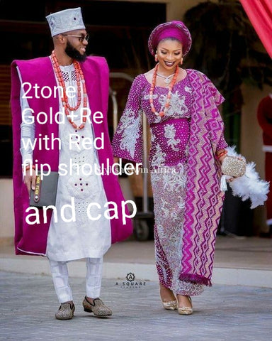 Balance payment for Custom made order  2 swarovaski million stones Stoned Aso-oke gele/ipele +  embriodered Agbada & cap. Produce per order only. Quality weave aso-oke 6-8 weeks for production.