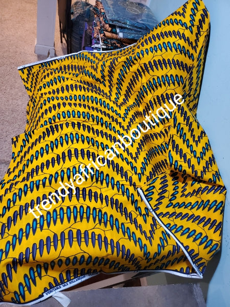 Yellow African  Ankara wax print. 100% cotton fabric for making African dresses and more, Sold per 6 yards, price is for 6yards