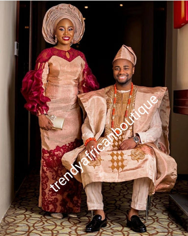 Rose gold  + wine celebrant aso-oke Bride and groom set. Custom-made design. Make-to-order only. Aso-oke set for man and woman. Can be order for individual only or complet set for couple. 6-8 weeks for production. Nigerian Traditional wedding outfit