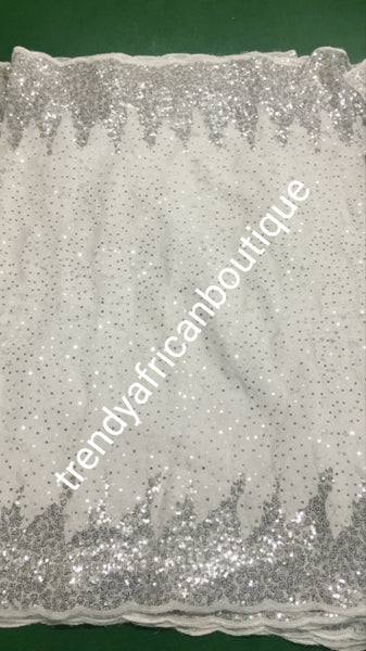 Sale sale: Lustrous quality Africa french lace fabric with all over sequence. Pure white lace with silver sequence border. Sold per 5yds. Aso-ebi lace limited quantity. Sold per 5yds lenght, price is for 5yds. Feel the difference in quality