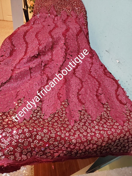 Sale sale: Lustrous quality Africa french lace fabric over sequence. Wine embeliished with gold sequence border. Sold per 5yds,  limited quantity. Sold per 5yds lenght, price is for 5yds. Feel the difference in quality