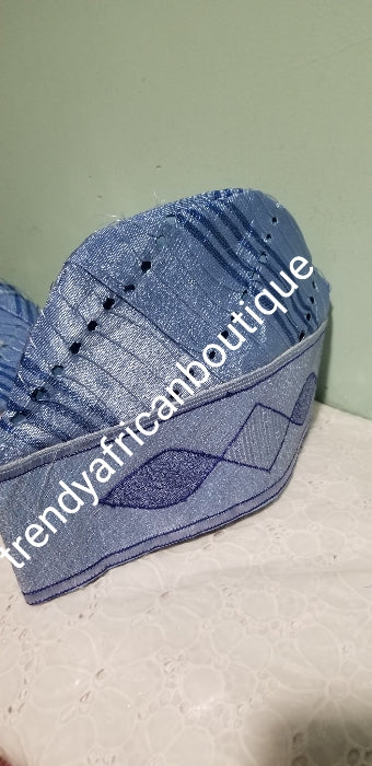 Sky blue  Nigerian Agbada Men-cap made with Aso-oke fabric with embroidery design. Only size 22 available.