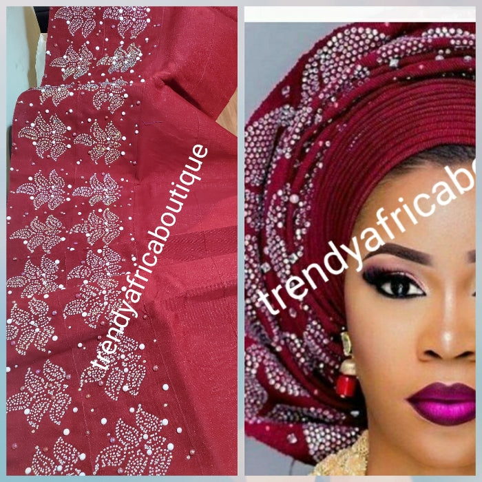 "Sale, Sale Oxblood Bedazzled Aso-oke gele. Best quality Woven in Nigeria. Extra wide 25"" and 80"" long for making bigger latest party Gele. Price is for gele only"