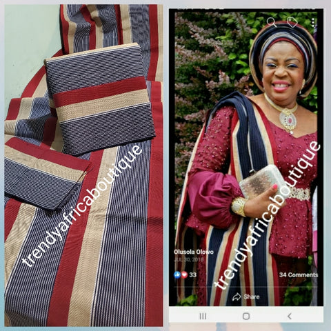 Nigerian woven Cotton Aso-oke set. Classic color combinations Wine/Navy/beige/white. Soft luxurious quality and Easy to tie.sold as a set and price is for the set