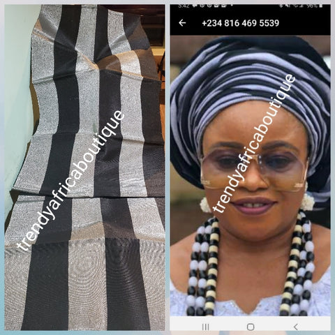 "Sale sale: dazzling Black/Silver Aso-oke for making stylish gele. Extra wide 24"" and 80"" long. Beautiful customize aso-oke woven in Nigeria. Fine Luxrous quality"