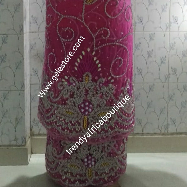 Bonus offer: Fuschia pink Super quality VIP/Celebrant Net George wrapper all over dazzling crystals and beads to perfection. complete  set of 2.5yds+ 2.5yds wrapper + 1.8yds matching net for blouse. Purchase with matching aso-oke gele