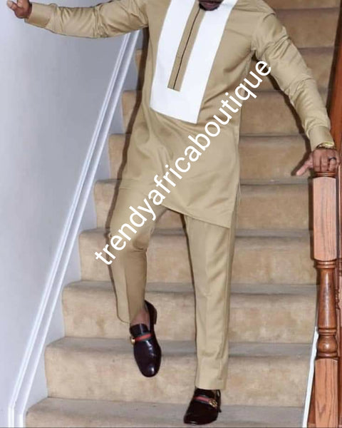 Sale sale: soft luxurious quality champagne gold  voile lace fabric for Nigerian Men native outfit. Soft quality fabric. Can be use for agbada/3pc outfit for men. Sold per 5yds. Price is for 5yds