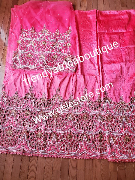 Special offer: Sweet Coral Nigerian traditional Igbo/delta women wrapper for big ceremoney. Original quality silk George wrapper for Traditional wedding oufit. Sold as 2  wrapper  of 2.5yds + 2.5yds + 1.8yds matching net for blouse