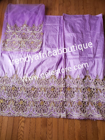 Special offer: Beautiful Lilac Nigerian traditional Igbo/delta women wrapper for big ceremoney. Original quality silk George wrapper for Traditional wedding oufit. Sold as 2  wrapper  of 2.5yds + 2.5yds + 1.8yds matching net for blouse