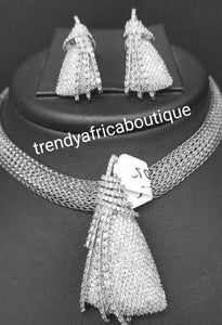 "3pcs 22k quality  white/silver electroplating in choker set. Sold as a set. Pendant is mounted with crystal CZ diamond stones. Top quality/hypo allergenic plating.  pendant with 17"" long necklace"