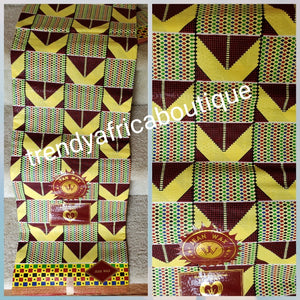 New arrival quality yellow kente design African cotton  Wax print fabric. High quality Ankara print. Sold per 6yds. Excellent quality and background brocade design