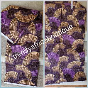 Purple hitarget veritable cotton Ankara wax print fabric. Sold per 6yds. Price is for 6yds. Soft texture. Excellent quality for making fabulous African outfit