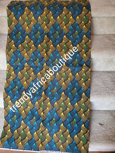 Beautiful Hitarget African Veritable cotton wax print. Soft texture with quality design. Blue/yellow gold Ankara cotton print in soft texture, Sold as 6yards.