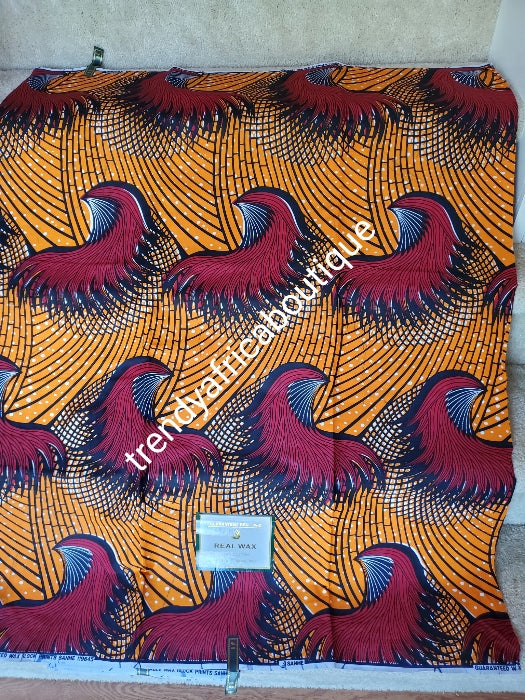 Superior quality Veritable Ankara African cotton wax print. Luxery quality. Nigerian/African wax print fabric sold in 6yds.  100% cotton.