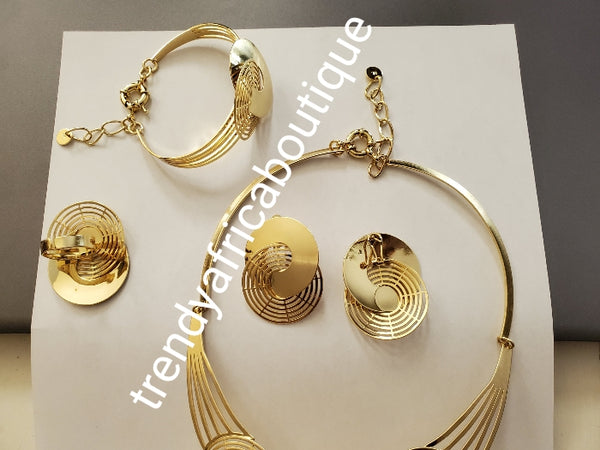 New arrival 4pcs 18k Gold  electroplated  Dubai Necklace set, earrings, adjustable bangle and ring. Long lasting hypoallergenic plating. Sold as a set