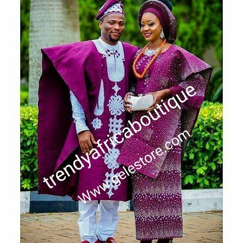 Choose your color!! beaded and swarovaski crystal stoned Aso-oke set. Custom-made. Make-to-order only. Aso-oke set for man and woman. Can be order for individual only or complet set for couple. 6-8 weeks for production. Nigerian Traditional wedding outfit