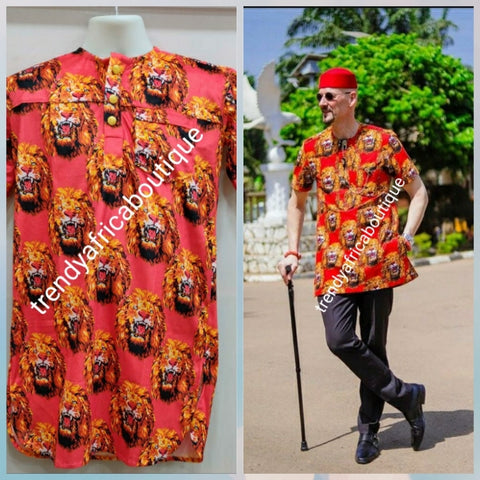 New arrival Isi-agu Igbo traditional/ceremonial shirt for men. Red/gold isi-agu shirt size XXL (2XL)  Chest 48-50""