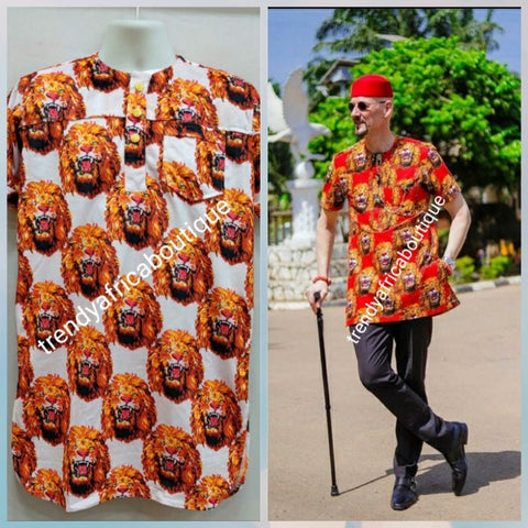 New arrival Isi-agu Igbo traditional/ceremonial shirt for men. White/gold isi-agu shirt size XXL (2XL)  Chest 48-50""