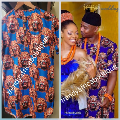 New arrival Isi-agu Igbo traditional/ceremonial shirt for men. Royal blue/gold isi-agu shirt size 2XL, Chest 48""