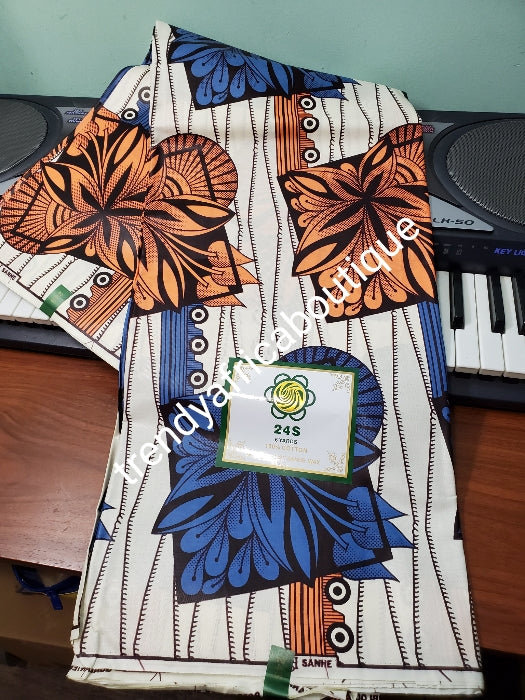 Cream/orange/royalblue Veritable African wax print fabric. 100% cotton Ankara print for making African party outfit for men and women. Sold per 6yds and price is for 6yds. Soft luxurious Quality fabric