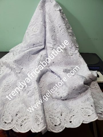 Sale, Sale: Big handcut pure White/White swiss lace fabric for Nigerian party. Embellished Celebrants crystal stones. Sold per 5yds. Price is for 5yds